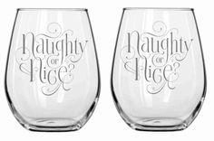 Naughty or Nice Glass Set of 2 Chose from Wine Glass, Pilsner, Beer Mug, Rocks, Pub Glass, Stemless WIne Sandcarved Personalized for FREE