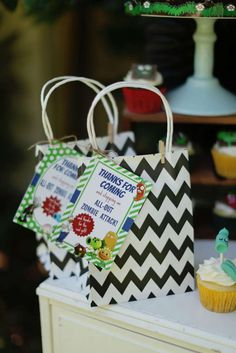 Favor bags at a Plants vs Zombies birthday party! See more party ideas at CatchMyParty.com!