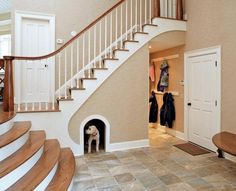 Professional interior designer shares 24 clever home improvement ideas. They are fantastic! Door Under Stairs, Pet Ramp, Make Way, Dog Houses, Four Legged, Doggy Doors, Future House, Gate, Pumpkins