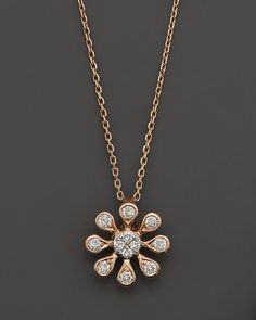 """Bloomingdale's Diamond Flower Pendant Necklace in 14K Rose Gold, .20 ct. t.w., 16"""" on shopstyle.com"""
