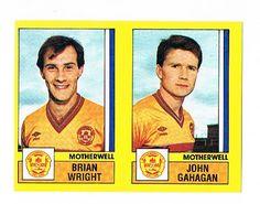 Brian Wright / John Gahagan of Motherwell - Football 87 - Panini - English & Scottish Leagues O Brian, Football Season, Baseball Cards, Logo, Logos, Environmental Print