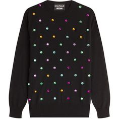 Boutique Moschino Embellished Wool Pullover (86.810 HUF) ❤ liked on Polyvore featuring tops, sweaters, black, polka dot sweater, polka dot top, black sweater, embellished sweater and embellished tops