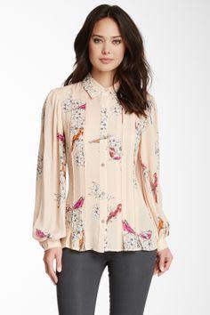 Rachel Roy Silk Long Sleeve Print Blouse