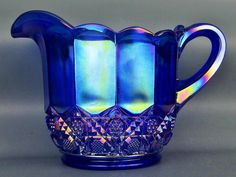 CARNIVAL GLASS - FENTON PLYTEC Cobalt Marigold 32oz Pitcher 9461 NK ca. 1987