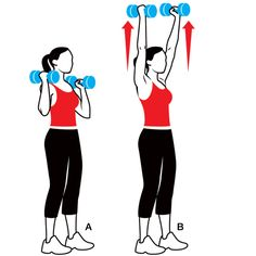 Shoulder Press. Works shoulders, upper back, and biceps   Grab a dumbbell in each hand and stand with your feet shoulder-width apart, knees slightly bent. Hold the dumbbells just above your shoulders, palms facing each other (A). Press the weights up until your arms are straight overhead (B). Hold for 1 second, then take 3 seconds to lower the dumbbells back to start. Do 6 to 8 reps.