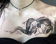 #ram #ramtattoo #ramskull #ramskulltattoo #ramskulltattoos #linetattoo #lines #lineworktattoo #linework #realistictattoo #realistic #realisticart #chesttattoo #chest #girlstattoo #girltattoo Animal Skull Tattoos, Animal Skulls, Ram Tattoo, Chest Tattoo, Line Work Tattoo, Line Tattoos, Piercing Tattoo, Piercings, Ram Skull