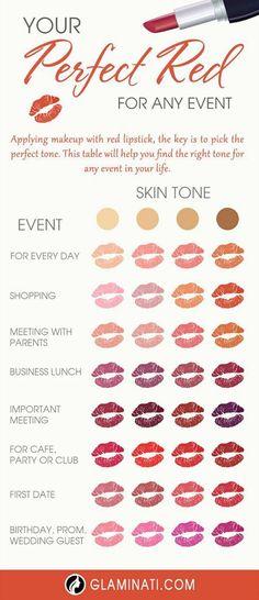 46 Trendy Makeup Lips Red Tutorials Lipstick Colors - Prom Makeup For Brown Eyes Lipstick Guide, Makeup Hacks Lipstick, Makeup Tips Eyeshadow, Lipstick Dupes, Makeup Guide, Makeup Tricks, Red Lipsticks, Lip Makeup, Makeup Geek