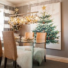 Home Dzine Craft Ideas - Christmas decor ideas on a budget - This year rather than forking out for a new Christmas tree look at how you can bring the festive atmosphere into your home in different ways. ABOVE: I absolutely love the idea of hanging a huge Christmas tree artwork that can be mounted anywhere in the home. - See more at: http://www.home-dzine.co.za/crafts/craft-frugal-xmas.htm#sthash.wU0Wq5zU.dpuf