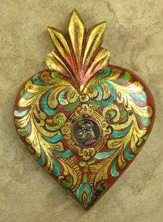 "MEXICAN HAND-PAINTED ""ST. ANTHONY MEDALLION"" WOODEN SACRED HEART ..."