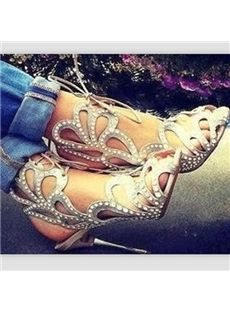 Gorgeous Flower-Shaped Cut-Outs Rhinestone Dress Sandals