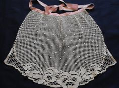 Vintage Apron Filet Crochet Pansies (Inspiration)