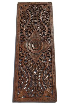 "Floral Wood Carved Wall Panel. Wall Hanging. Decorative Thai Wall Relief Panel Sculpture. Large Carved Wood Wall Panel Brown Finish 35.5""x13.5""x0.5"""