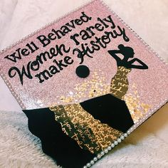 Black and gold glitter grad Cap design // follow us @motivation2study for daily inspiration
