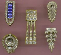 Sparkly Collection of Five Art Deco Dress Clips | eBay