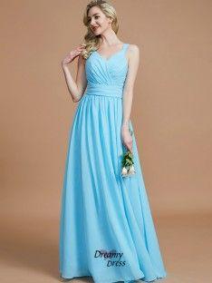 a3b7e248e26c80 2019 的A-Line Straps Chiffon Blue Long Prom Dresses 2019 主题 ...