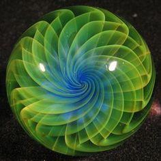 Love the colors! Emerald. Artist: John Bridges http://www.landofmarbles.com