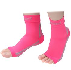 Foot Sleeves (1 Pair - Pink M) Best Plantar Fasciitis Compression for Men & Women - Heel Arch Support/ Ankle Sock