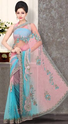 US$ 216.4 Salmon Blue Net Embroidered Saree with Blouse | Get It Here: http://www.sareegalaxy.com/pages/itemlarge.aspx?itemcode=SVD3I14066
