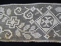 Antique Lace Trim Church Cross Design with Leafs Motif 3 x 26 inches Filet | eBay