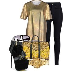 Untitled #120 by beautifully-ambitious on Polyvore featuring polyvore fashion style Maison Margiela Rodarte Versace Versus Chanel