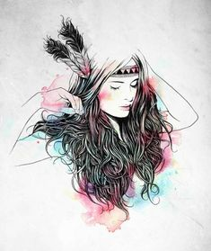 beautiful woman with feathered headband except minus the colors and splashes of gray