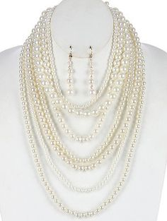Gypsy CoWgirl Chic MULTI LAYERED CHUNKY PEARL NECKLACE SET BOHO FREE SHIP