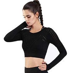 84d07c83b82802 henglong Black Sport Crop Top for Women with Thumb Holes Long Sleeve Hollow  Shirts Running Fitness