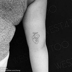 Anatomical heart tattoo on the left inner arm. : Anatomical heart tattoo on the left inner arm. Mini Tattoos, Little Tattoos, Trendy Tattoos, Foot Tattoos, Cute Tattoos, Body Art Tattoos, New Tattoos, Small Tattoos, Tatoos
