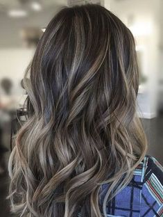 Long Wavy Ash-Brown Balayage - 20 Light Brown Hair Color Ideas for Your New Look - The Trending Hairstyle Grey Balayage, Hair Color Balayage, Hair Highlights, Bayalage, Blonde Ombre, Balayage For Asian Hair, Haircolor, Dark Brown Hair With Blonde Highlights, Subtle Highlights