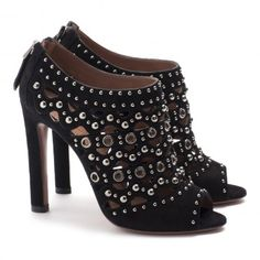 ALAÏA black embellished booties