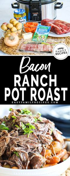 Bacon Ranch Pot Roast is on our regular dinner menu! Everyone devours this easy pot roast recipe made in the crockpot. With just a few ingredients you have a filling beef dinner idea that can feed a crowd. Chuck Roast Recipes, Beef Chuck Roast, Pot Roast Recipes, Crockpot Recipes, Dinner Recipes, Dinner Menu, Easy Crockpot Pot Roast Recipe, Best Chuck Roast Recipe, Dinner Bread