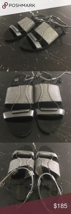 Lanvin authentic gray flat sandals Lanvin authentic gray flat sandals. Beautiful sandals. For a fraction of the retail prices. Slightly worn in front, but still In excellent shape.  No box. Lanvin Shoes Sandals