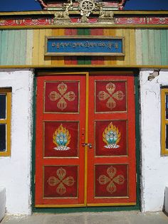 Red monastery door. Mongolia