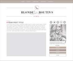 Custom Blog Design // Blonde in Boutin's LOVE the small picture on the right side and the links directly above and below. This entire layout WORKS!
