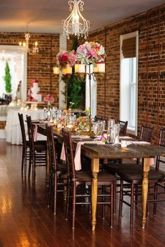 Our gorgeous head table - farm table. At The White Room St. Augustine - Flowers by The Conservatorie