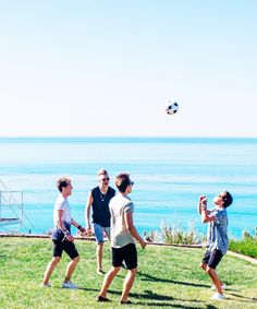 "The Vamps + Aww look at them being sportsy and playin soocer on the set of ""Somebody to you"""