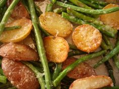 Barefoot contessa - roasted potatoes, asparagus, haricot verts. Love this so easy. One of our go to recipes.