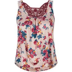 FULL TILT Floral Womens Crochet Tank ($7.98) ❤ liked on Polyvore featuring tops, tanks, shirts, tank tops, blouses, tan, tan tank top, floral shirt, floral top and crochet top