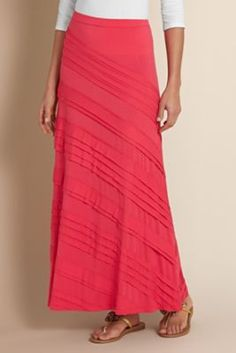 Long Coral Knit #Tiered #Skirt - #Ruffles #Flowing #Comfy #Maxi