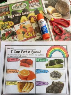 I can eat a rainbow activity! Students use this FREE printable to draw or cut and paste fruits and veggies for each color of the rainbow. {healthy eating and nutrition for kids}