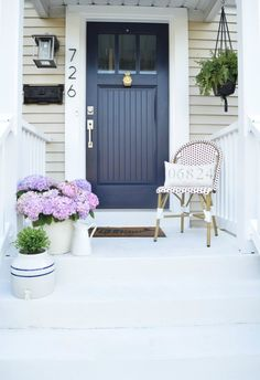 New Blue Front Door Colors Curb Appeal Living Rooms Ideas House Siding, House Paint Exterior, Exterior Paint Colors, Exterior House Colors, Paint Colors For Home, Beige House Exterior, Diy Exterior, Outside House Paint Colors, Exterior Design