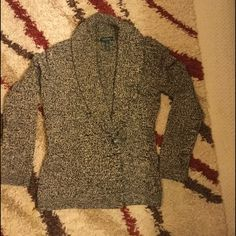 Ralph Lauren collared cardigan Sz M 60% cotton and 40% acrylic. Heavy weight sweater. Inside tie closure with one button detail on outside. Black Ralph Lauren Sweaters Cardigans