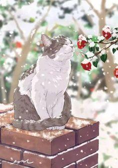 Online store anime merchandise: clothes, figurines, manga and much more. - Online store anime merchandise: clothes, figurines, manga and much more. Come and choose for yourse - Art Et Illustration, Cat Illustrations, Anime Scenery, Cat Drawing, Aesthetic Art, Animal Drawings, Cat Art, Art Inspo, Japanese Art