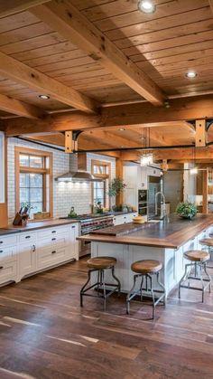 Farmhouse Kitchen Decor, Home Decor Kitchen, New Kitchen, Kitchen White, Kitchen Ideas, Farmhouse Design, Log Home Kitchens, Modern Farmhouse Kitchens, Dream Kitchens