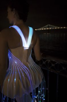 Fiber optic dress from the back, shows where the light and batteries are hidden.