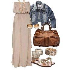 I just love this simple look! The tan maxi dress is accessories with such adorable things from the sandals to the sunglasses! Everything about this outfit works when it's paired together