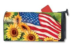 Magnet Works Mailwraps American Sunflowers Flag Magnetic Mailbox Wrap Cover #MagnetWorks