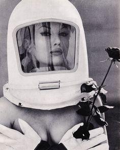 (via Film Noir Photos: Outlandish Hats: Mylène Demongeot) Vintage Space, Vintage Photos, Retro Vintage, Vintage Woman, Space Girl, Space Age, Space Artwork, Space Fashion, Retro Futuristic