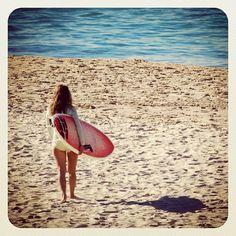 To the waves at Bondi #surf #atbondi #bondi #beach #surfer #girl #board #sand #sydney #australia