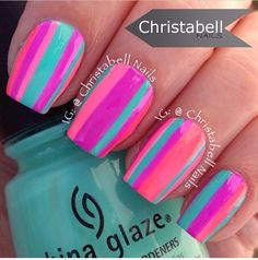 Neon stripe nails